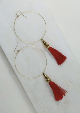 VANESSA MOONEY THE SUMMER OF LOVE TASSEL HOOP EARRINGS