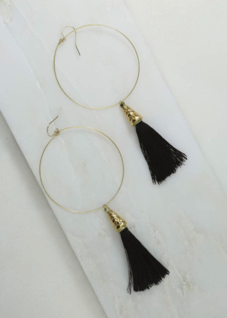 VANESSA MOONEY TASSEL HOOP EARRINGS - JD LUXE