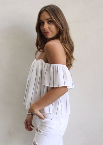 DIANA STRIPED OFF THE SHOULDER TOP