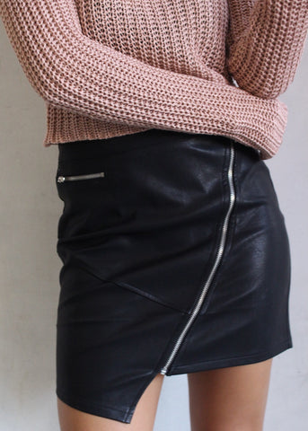 VAMP VEGAN LEATHER SKIRT
