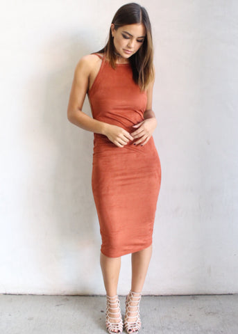 LOVE AND LUST SUEDE BODYCON