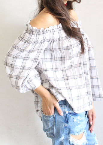 SMOCKED LINE OFF THE SHOULDER TOP