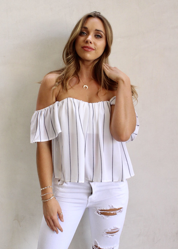 DIANA STRIPED OFF THE SHOULDER TOP - JD LUXE