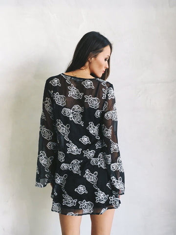 LUNA FLORAL SHEER TUNIC