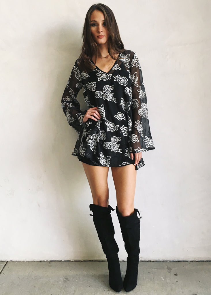 LUNA FLORAL SHEER TUNIC - JD LUXE