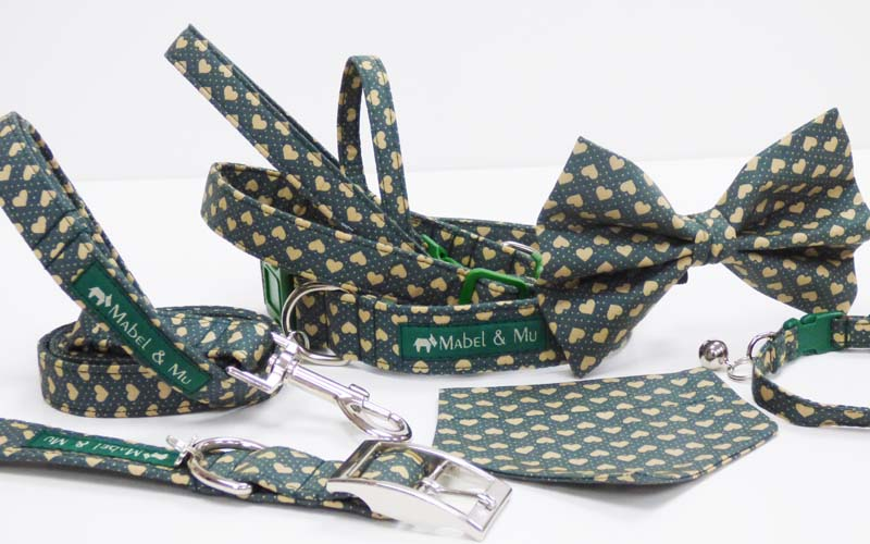"Designer Dog & Cat Collar Range ""Love Me....Green"""