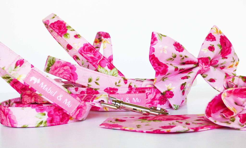 "Designer Dog & Cat Collar Range ""Tea Rose"" by Mabel & Mu"