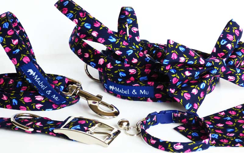 "Designer Cat & Dog Collar Range ""Tiny Tulips"""