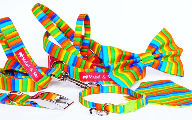 "Designer Dog & Cat Collar Range ""Rainbows"""