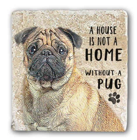 "Single Marble Coaster ""Pug"" @ Mabel & Mu"