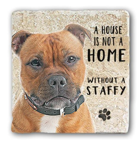 "Single Marble Coaster ""Staffy"""