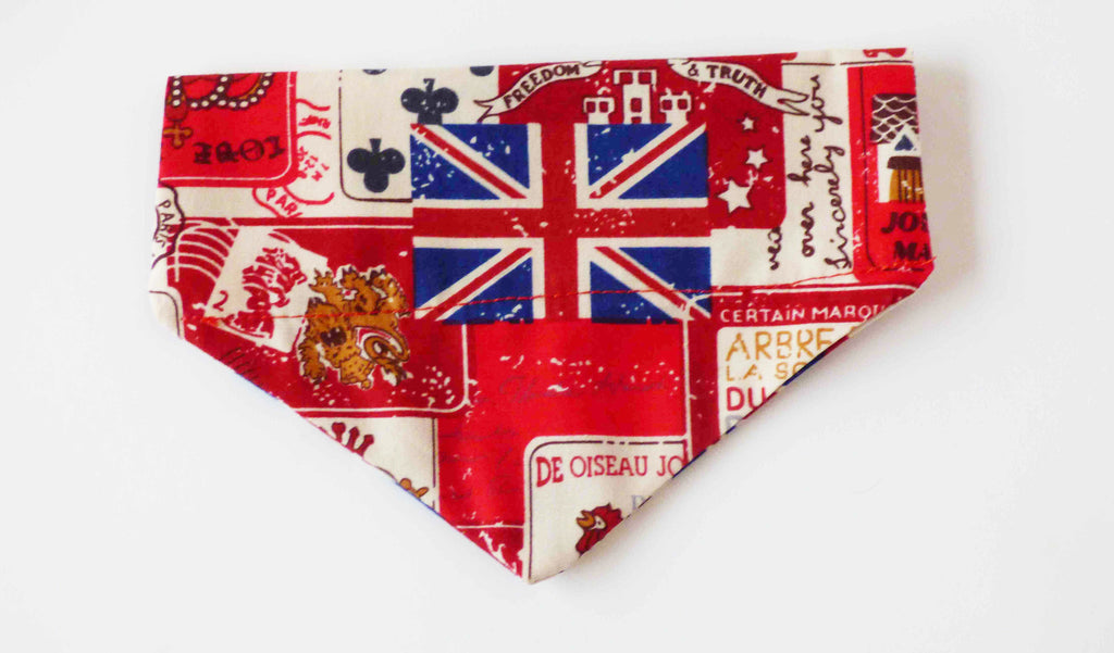 "Slide on Bandana for Dog Collars ""Vintage Britain"""