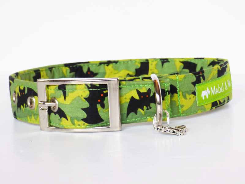 "Designer Buckle Dog Collar ""Bat Cave"" by Mabel & Mu"