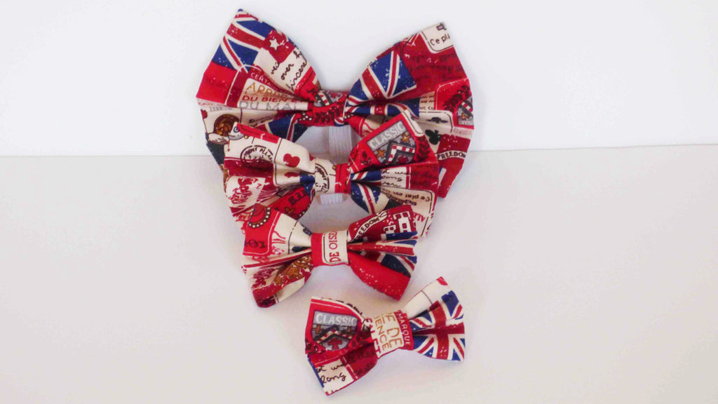 "Dog Collar Bow / Bow Tie   ""Vintage Britain"""