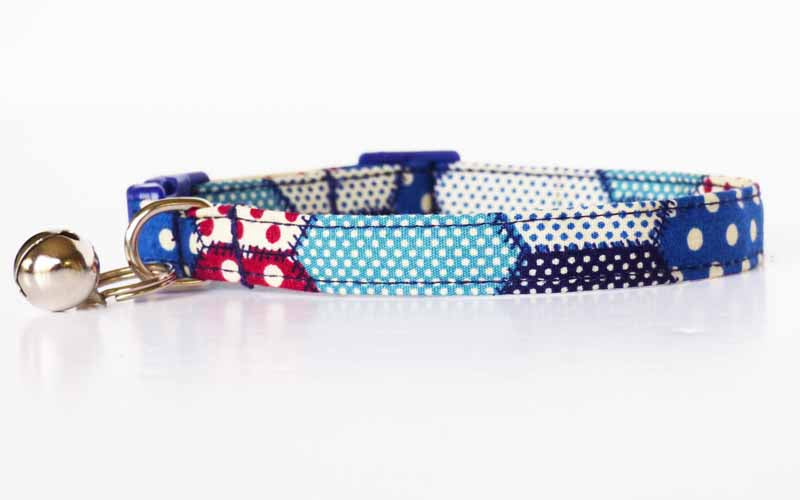 "Designer Cat & Kitten Collar ""Hex Blue"" by Mabel & Mu"