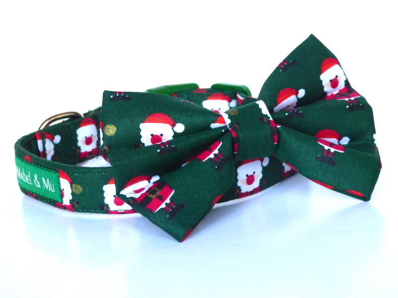 Green Santa Dog & Cat Bow Tie