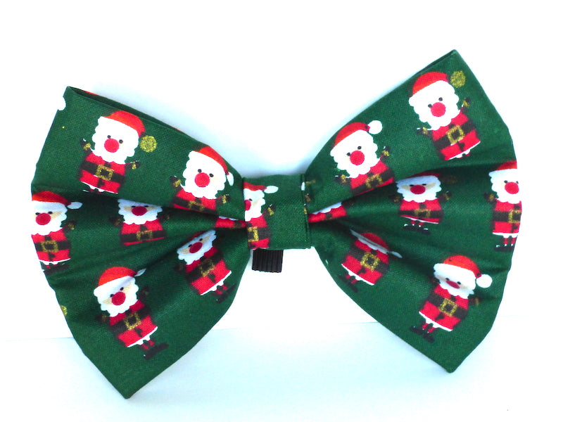 "Dog Collar Bow / Bow Tie  ""Green Santa"""