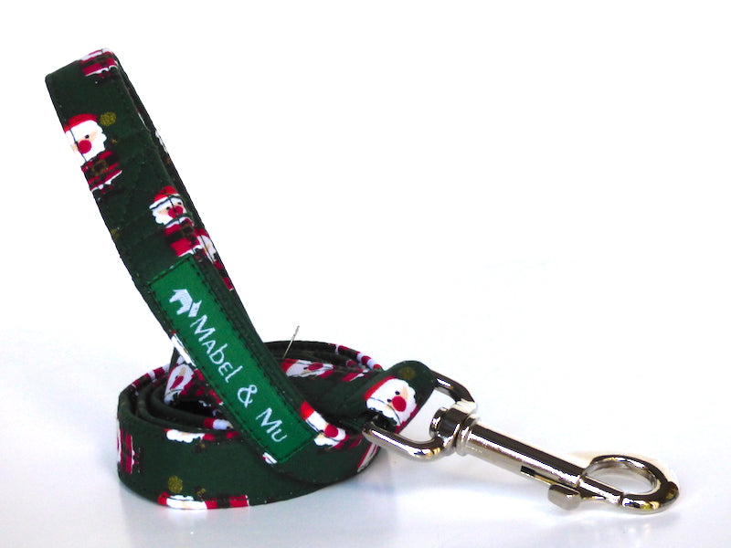 Green Santa Dog Lead by Mabel & Mu
