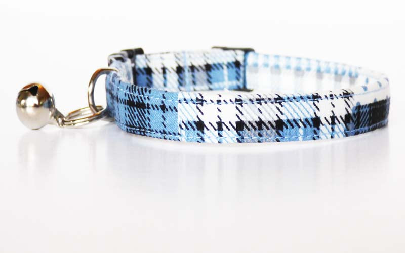 "Designer Cat & Kitten Collar ""Patch Blue"" by Mabel & Mu"