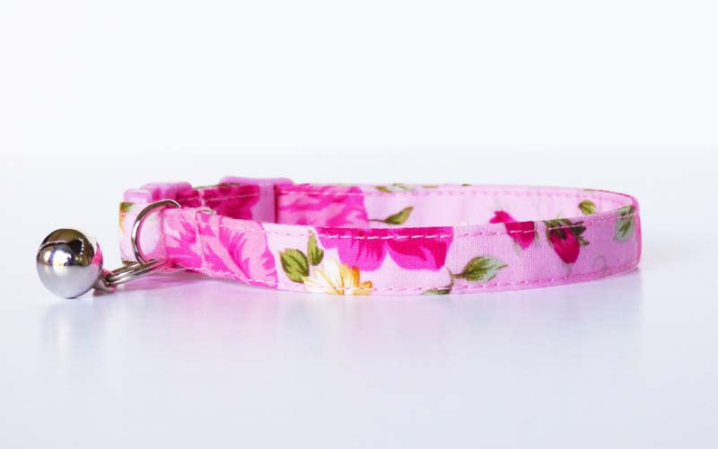 "Designer Cat & Kitten Collar Range ""Tea Rose"" by Mabel & Mu"