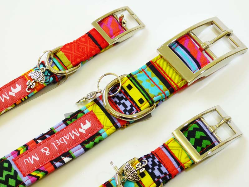 "Designer Metal Buckle Dog Collar ""Rainbow Red"" by Mabel & Mu"