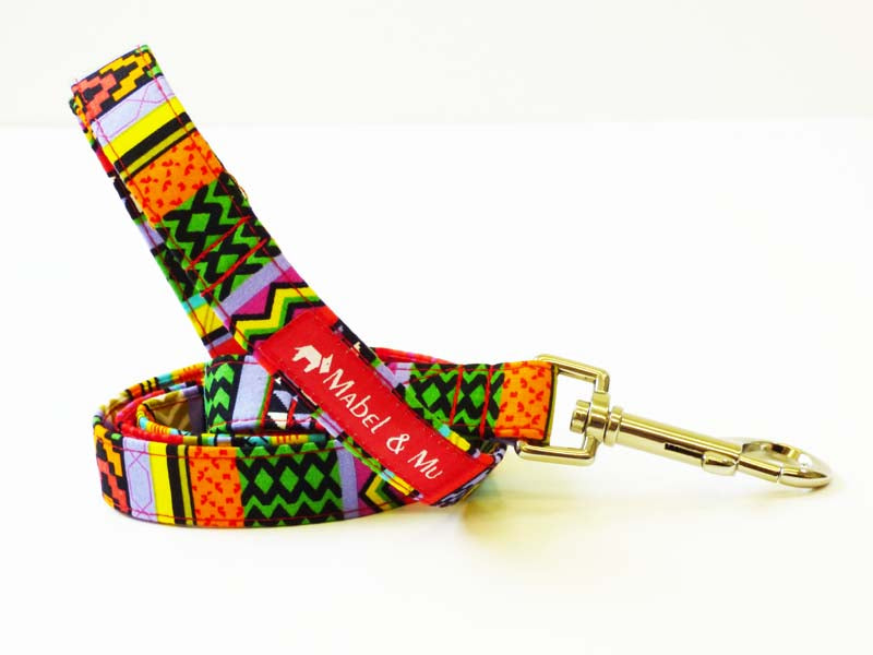 """Rainbow Red"" Designer Dog Lead by Mabel & Mu"