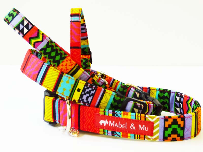 "Designer Dog Collar Range ""Rainbow Red"" by Mabel & Mu"