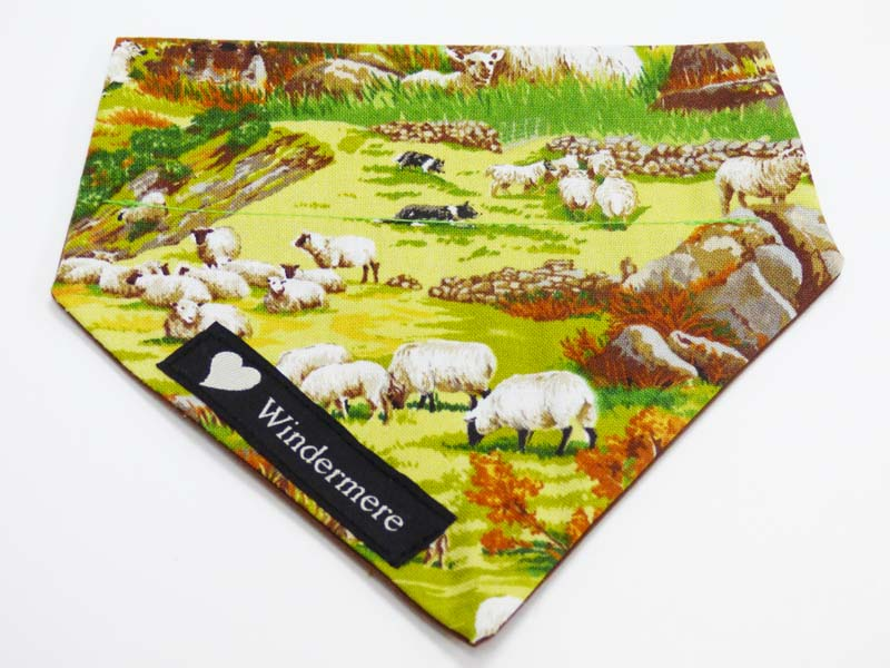 "Dog & Cat Collar Bandana ""Sheep in the Country"" by Mabel & Mu"