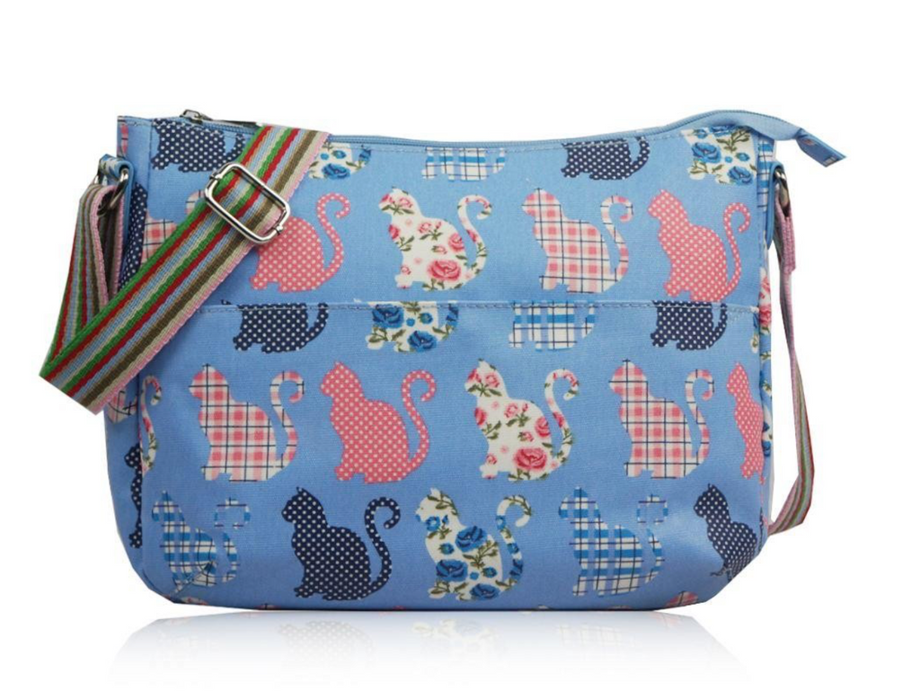Kitty Print Cross Body Oil Cloth - Mabel & Mu