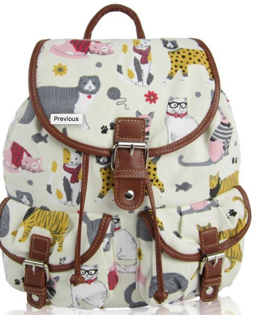 Canvas Run Sac Fun Cat Design - Mabel & Mu