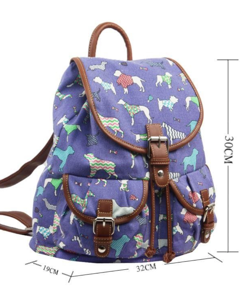 Canvas Ruc Sac Silhouette Dog Design - Mabel & Mu