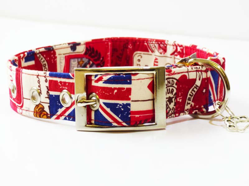 "Metal Buckle Dog Collar ""Vintage Britain"" Range by Mabel & Mu"