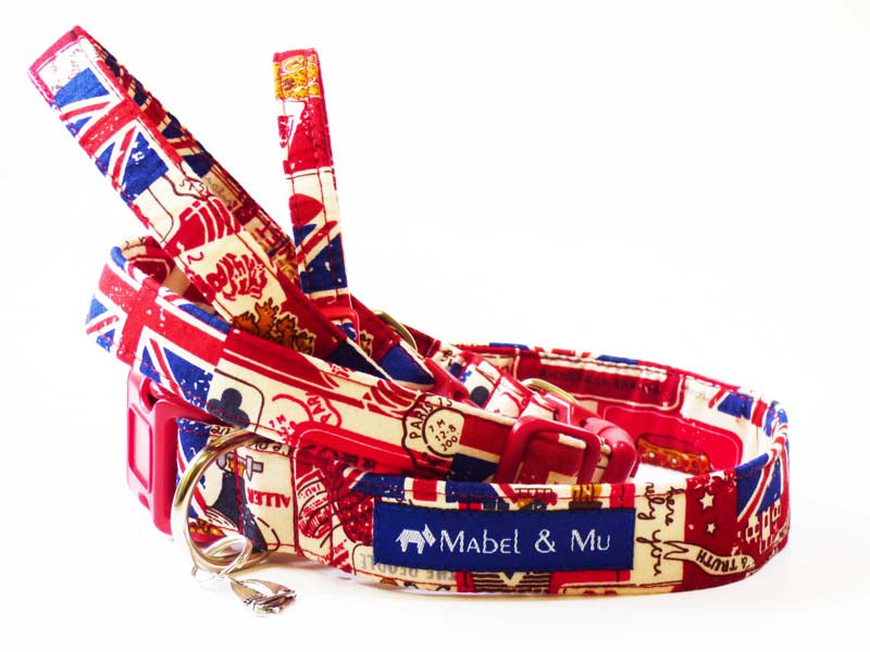 "Dog Collar ""Vintage Britain"" Range by Mabel & Mu"