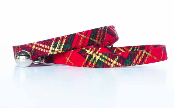 """Winter Robin"" Tartan Cat & Kitten Collar by Mabel & Mu"