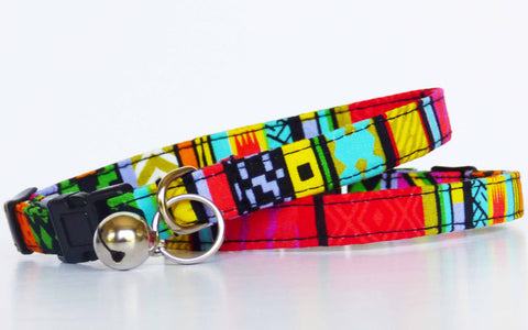 "Designer Cat & Kitten Collar ""Rainbow Red"" by Mabel & Mu"