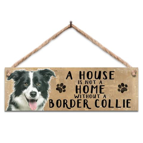 Rustic Wooden Border Collie Sign @ Mabel & Mu