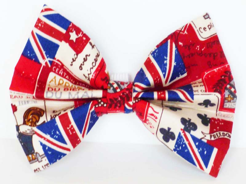 "Designer Cat & Dog Bowtie ""Vintage Britain"" by Mabel & Mu"