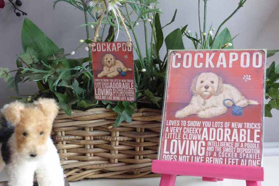 Cockerpoo Beige Metal Pet Sign - Mabel & Mu