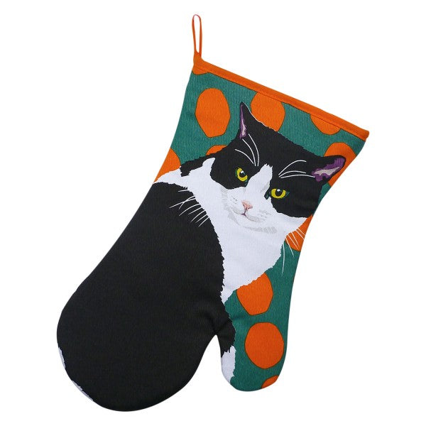 """Leslie Gerry"" Black & White Cat Oven Mitt @ Mabel & Mu"