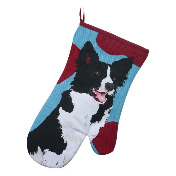 """Leslie Gerry"" Border Collie Oven Mitt"