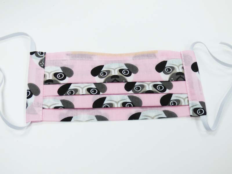 "Pale Pink Pug Dog Print ""Face Covering"" by Mabel  & Mu"