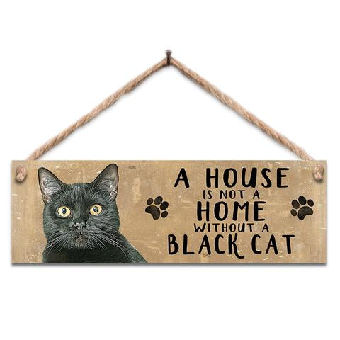 "Rustic Wooden Sign ""Black Cat"" @ Mabel & Mu"