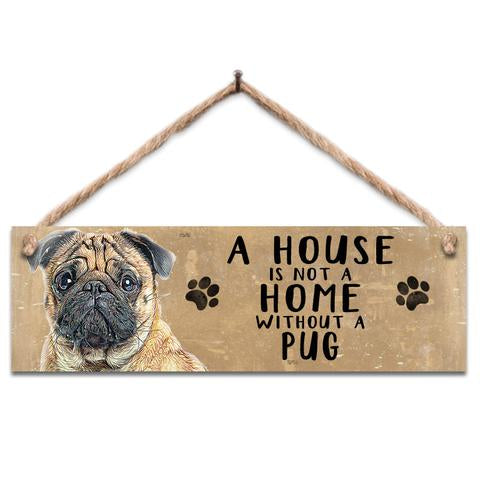 "Rustic Wooden Sign ""Pug"" @ Mabel & Mu"
