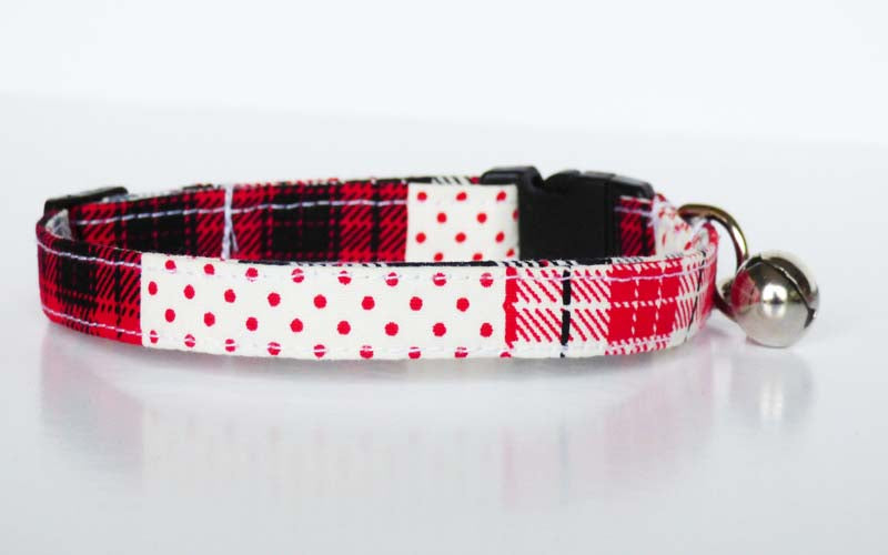 "Designer Cat & Kitten Collar ""Patch Red"" by Mabel & Mu"
