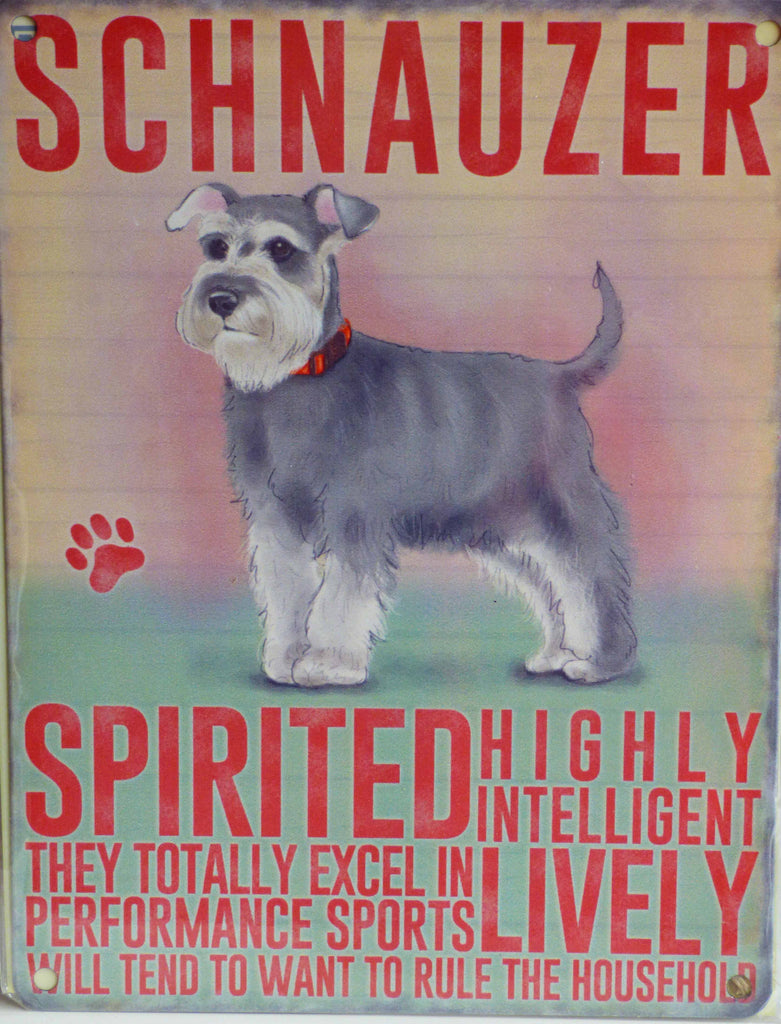 Schnauzer Metal Pet Sign - Mabel & Mu