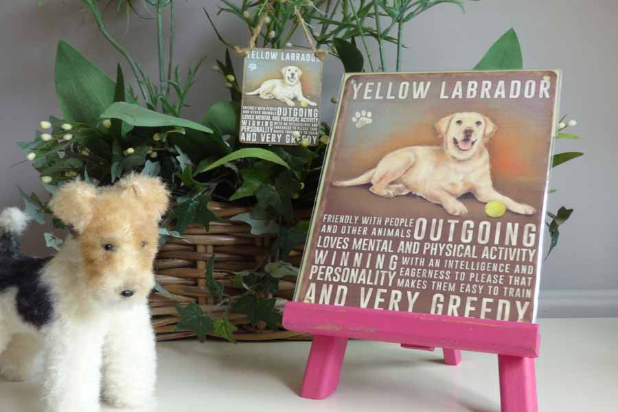 Yellow Labrador Metal Pet Sign - Mabel & Mu