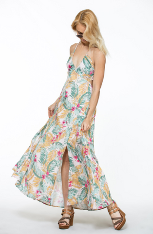 Tropical Goddess Halter Maxi Dress