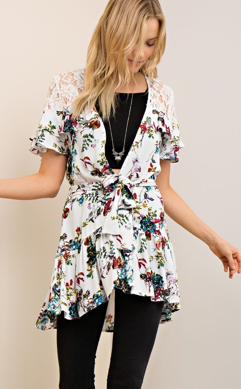 Fancy Florals Cardigan with Lace
