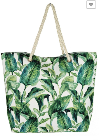 Tropical Leaves Beach Bag