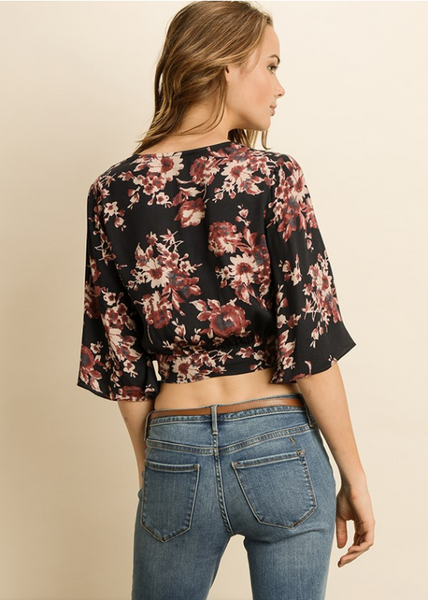 Autumn Floral Wrap Top